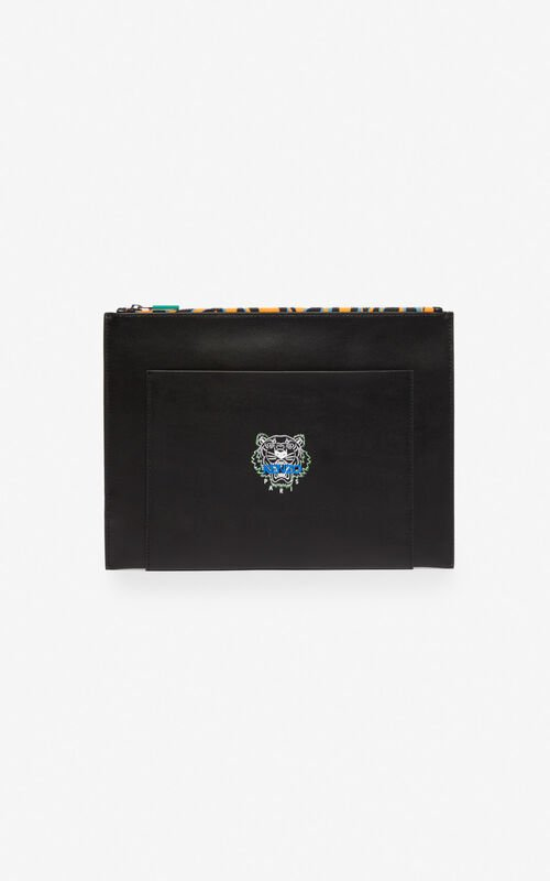 BLACK 'Tiny Tiger' A4 leather clutch for unisex KENZO