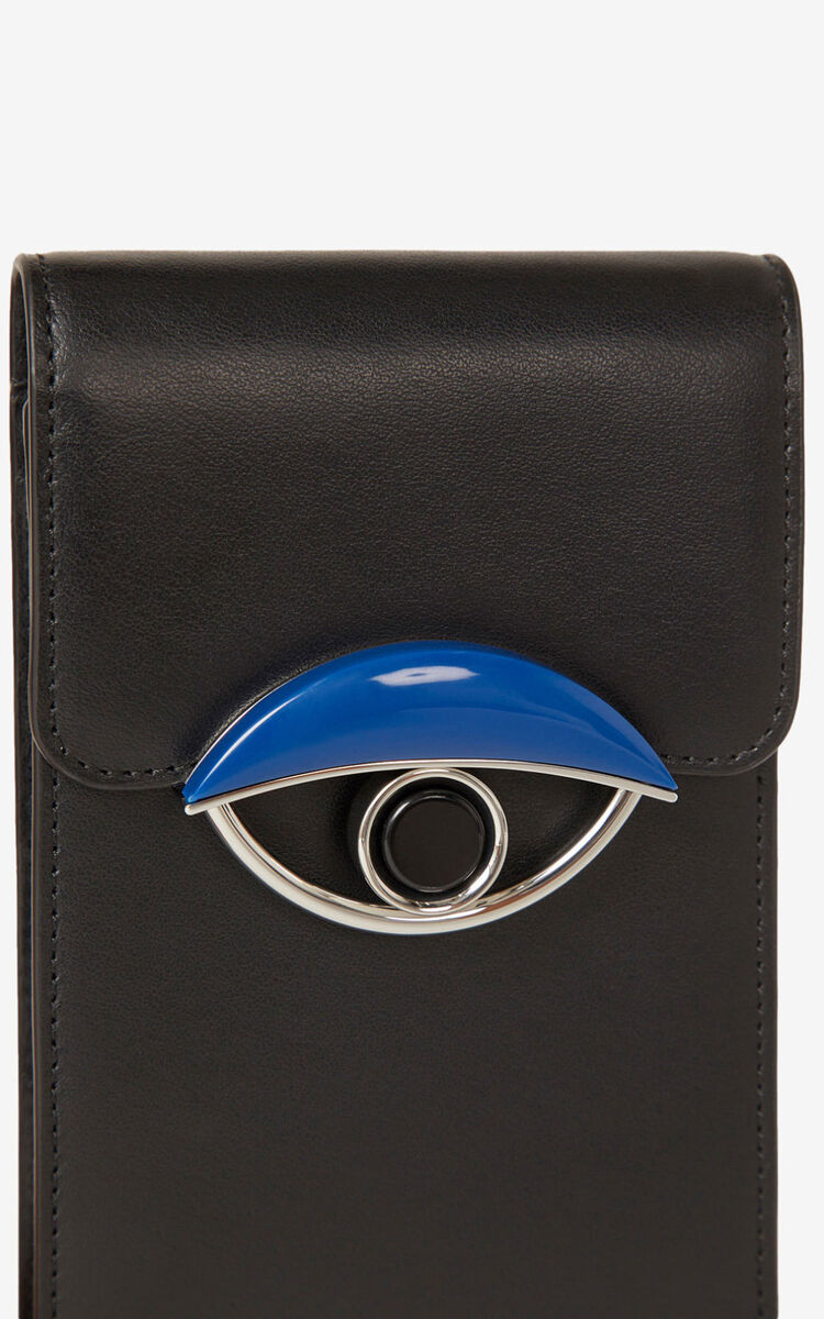 BLACK TALI leather phone holder with chain for women KENZO