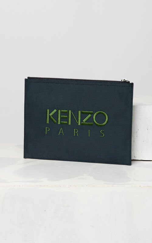 DARK GREY A4 Tiger Canvas clutch for unisex KENZO
