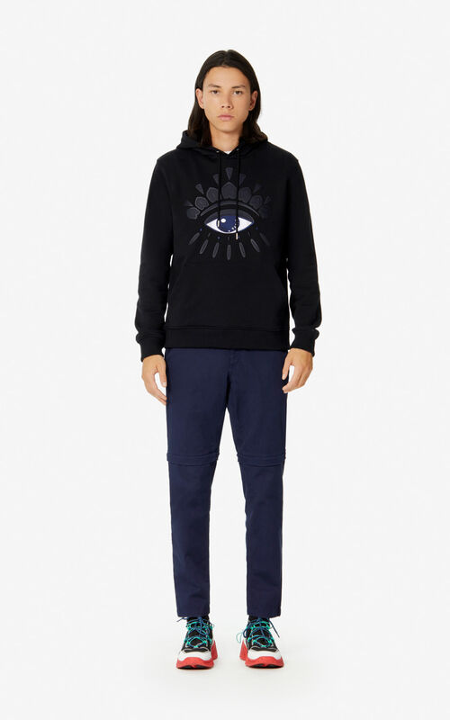 BLACK Hooded Eye sweatshirt for men KENZO