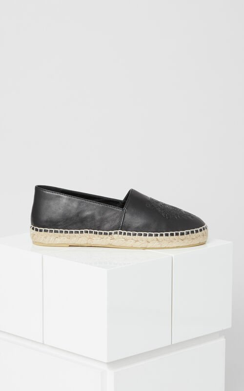 BLACK Leather Tiger Espadrilles for unisex KENZO