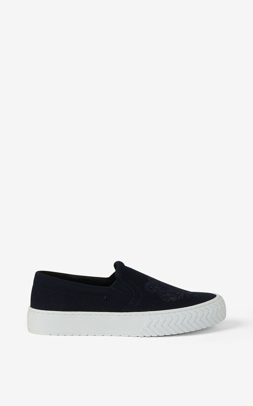 NAVY BLUE Canvas slip-on K-Skate Tiger trainers for unisex KENZO