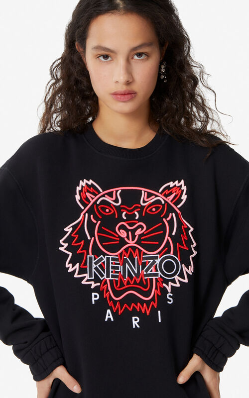 065ccd99 BLACK Neon Tiger sweatshirt for women KENZO ...