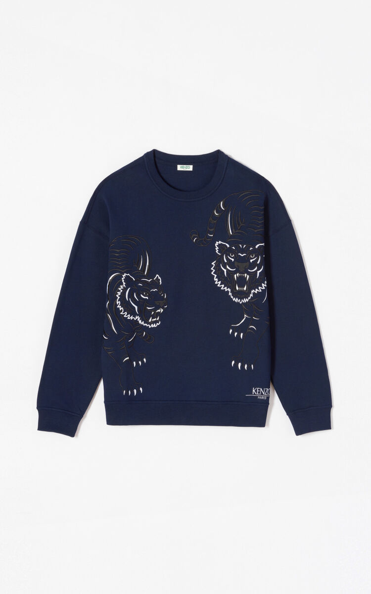 MIDNIGHT BLUE 'Double Tiger' sweatshirt for women KENZO