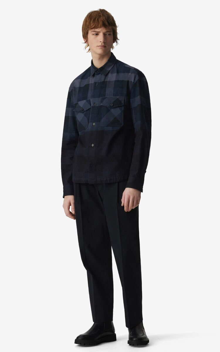 MIDNIGHT BLUE Overdyed overshirt for men KENZO