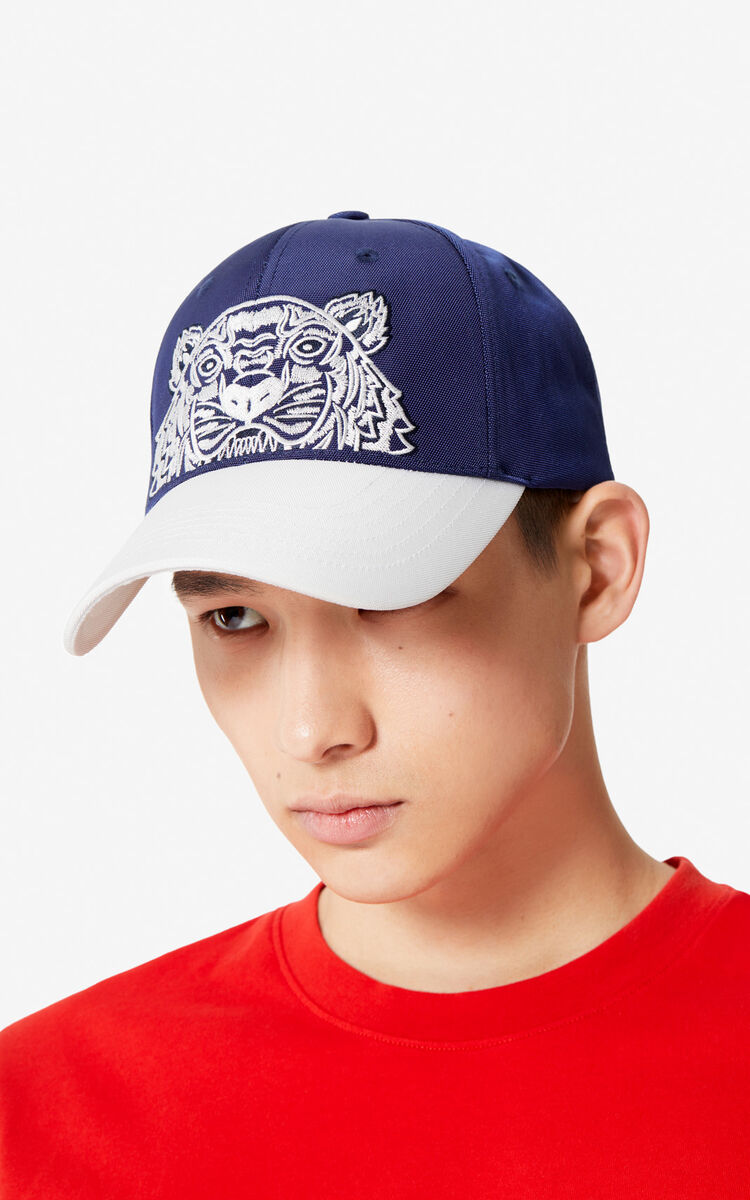 MIDNIGHT BLUE 'Colorblock Tiger' cap for unisex KENZO