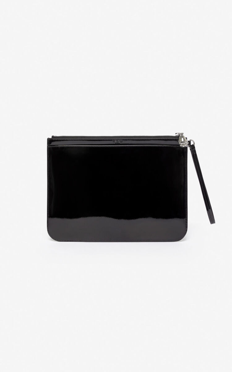 BLACK 'Preppy' A4 clutch with embossed Tiger  for unisex KENZO