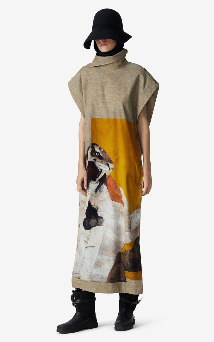 MULTICOLOR Long dress with Júlio Pomar illustration for women KENZO