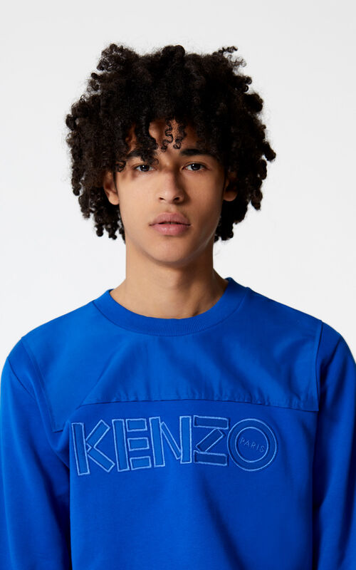 FRENCH BLUE Dual-fabric KENZO sweatshirt for men