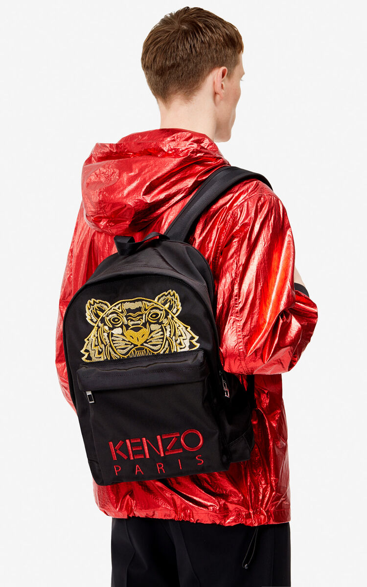 BLACK Large Canvas Tiger backpack for unisex KENZO