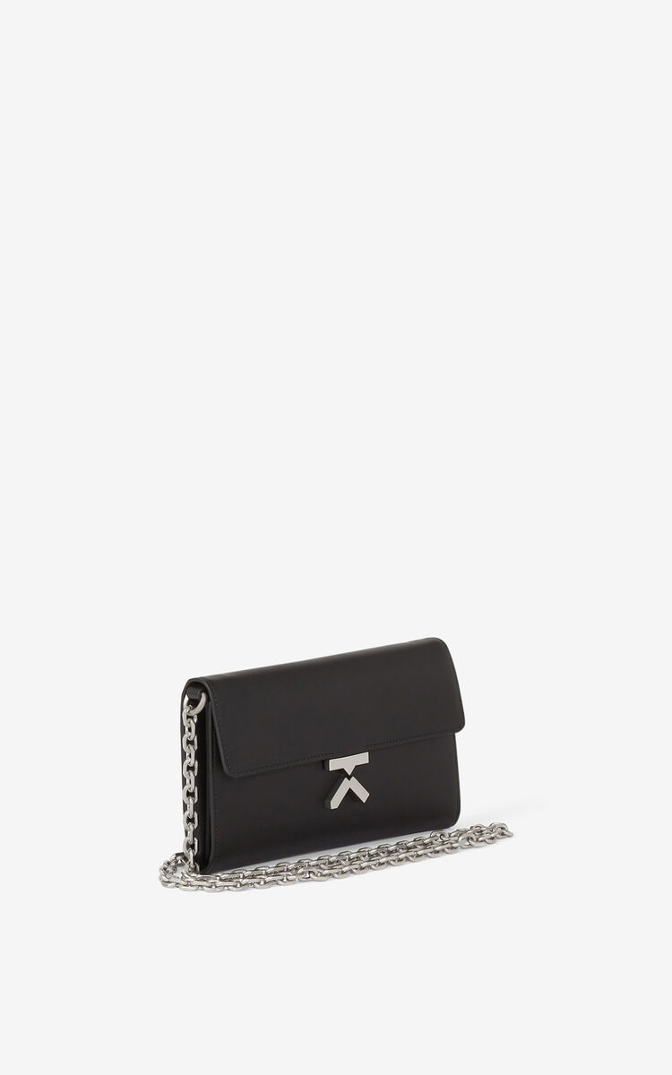 BLACK KENZO K leather chain wallet for women