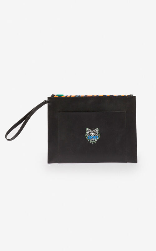 BLACK 'Tiny Tiger' A4 clutch for women KENZO
