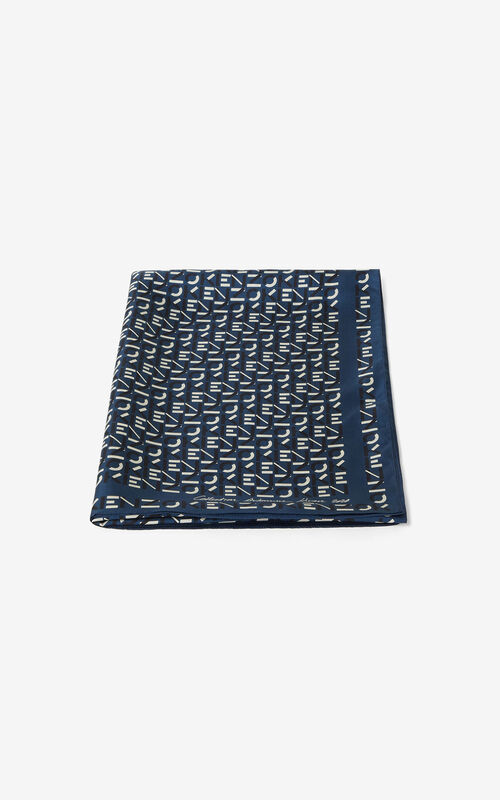 ELECTRIC BLUE Monogrammed silk stole for unisex KENZO