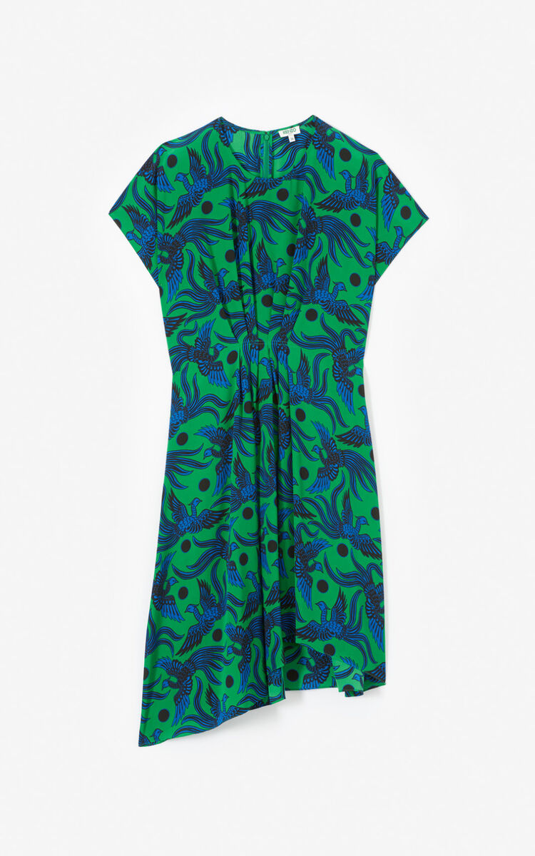 BOTTLE GREEN Asymmetric 'Flying Phoenix' silk dress for women KENZO