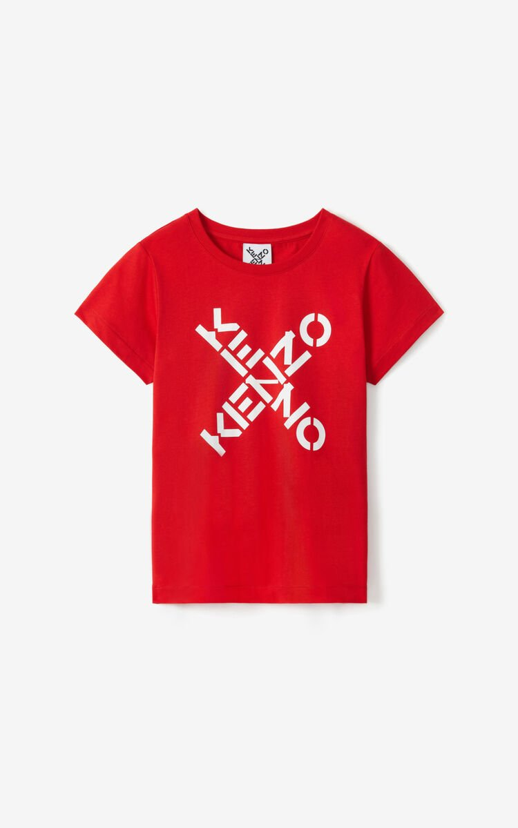 MEDIUM RED KENZO Sport 'Big X' t-shirt for men