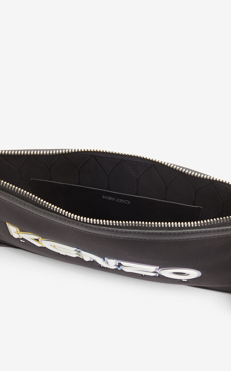BLACK Kombo A4 neoprene clutch for unisex KENZO