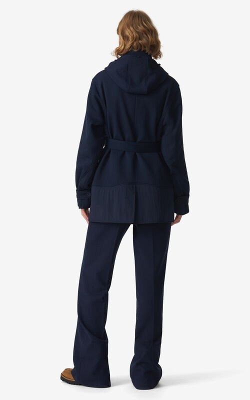 NAVY BLUE Belted pea coat for women KENZO