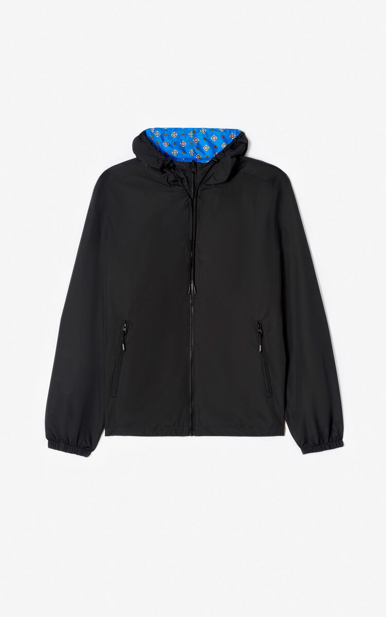 BLACK Reversible KENZO Logo windbreaker jacket for men