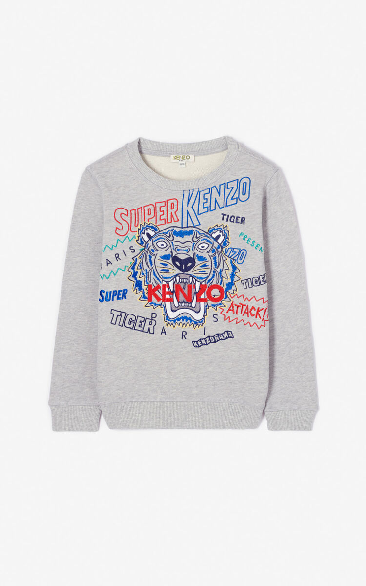 MISTY GREY 'Super KENZO' tiger sweatshirt for men