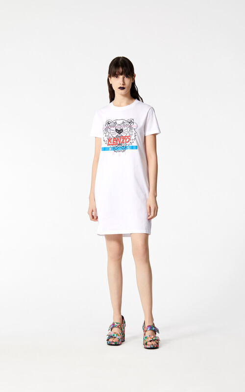WHITE 'Hyper Tiger' t-shirt dress for women KENZO
