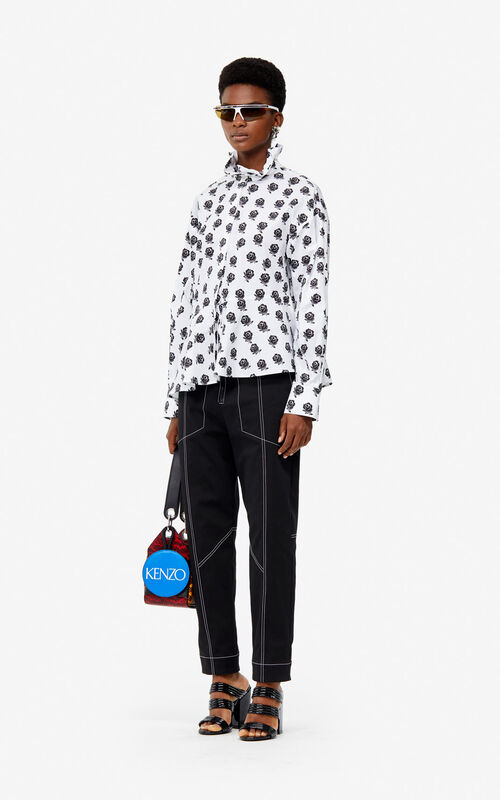 BLACK Asymmetric 'Roses' shirt for women KENZO