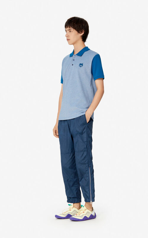 BLUE Fitted Tiger polo shirt for men KENZO