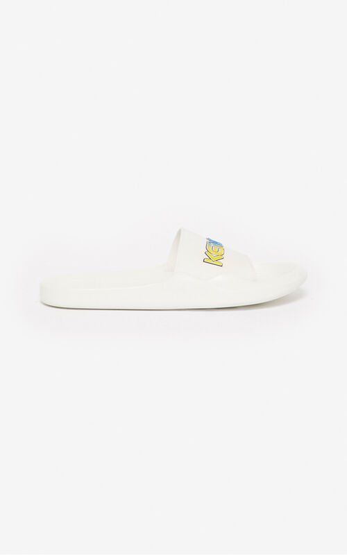 WHITE 'Wetsuit' pool mules for men KENZO