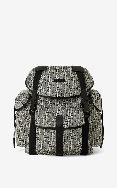 MISTY GREY KENZO Trek jacquard rucksack with flap for unisex