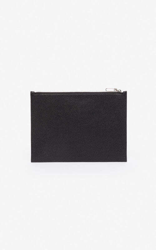 BLACK 'Tiger Mountain' A4 clutch for unisex KENZO