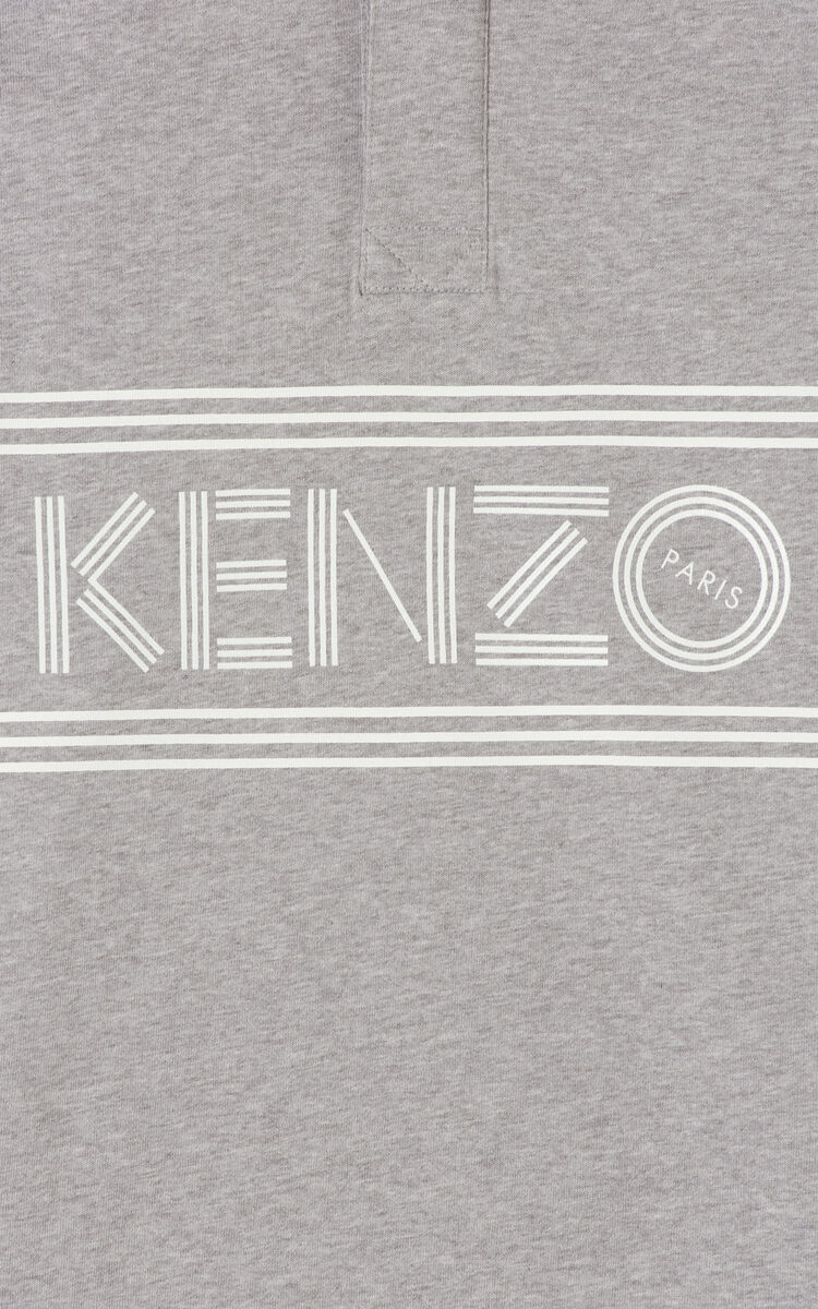 DOVE GREY KENZO Logo regular fit polo shirt for men