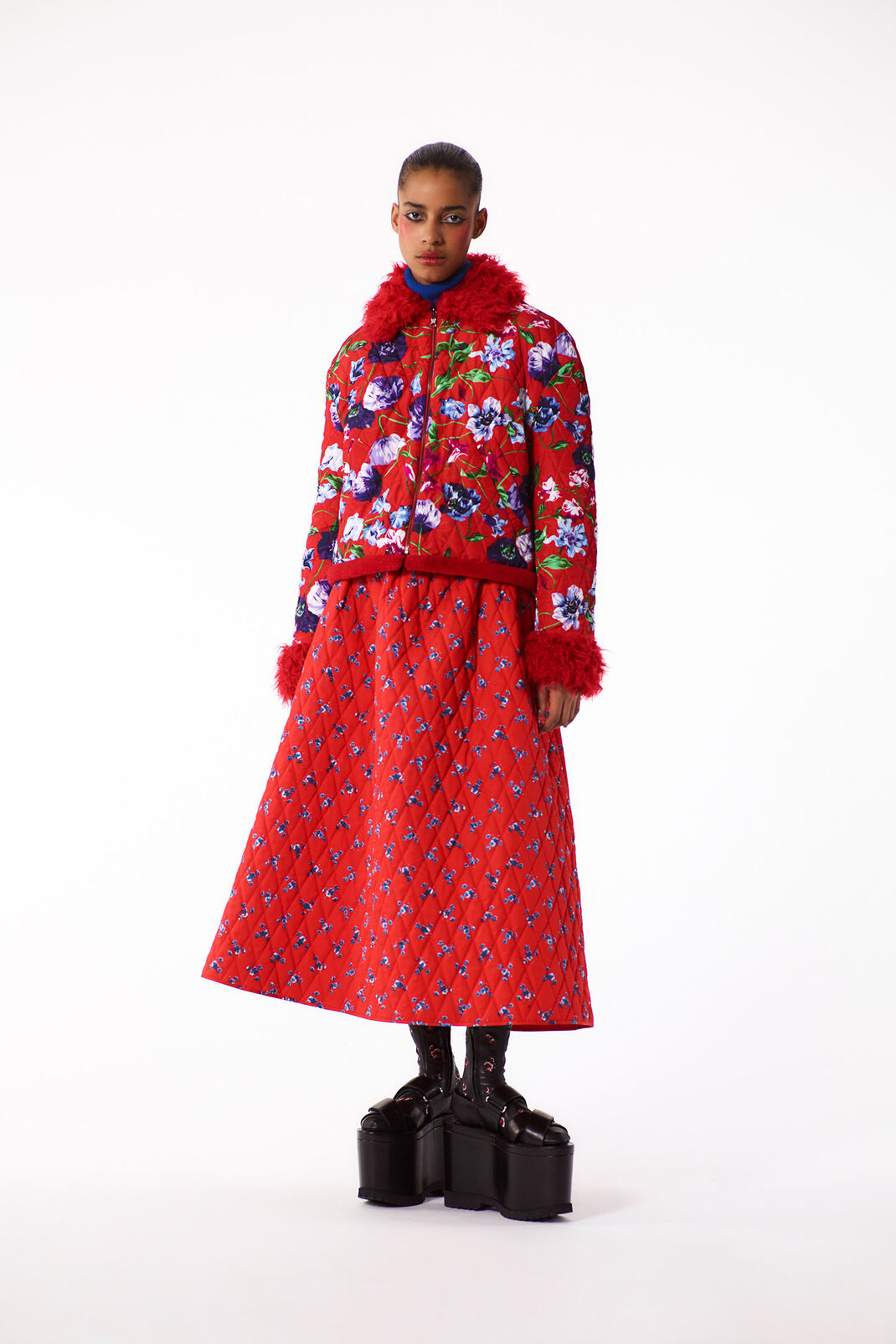 MEDIUM RED Padded 'Wild Flowers' Jacket for women KENZO