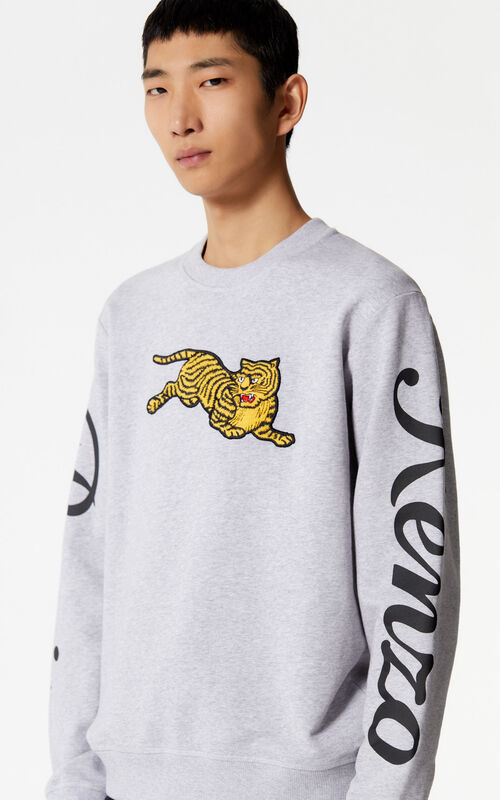 PEARL GREY 'Jumping Tiger' sweatshirt for men KENZO