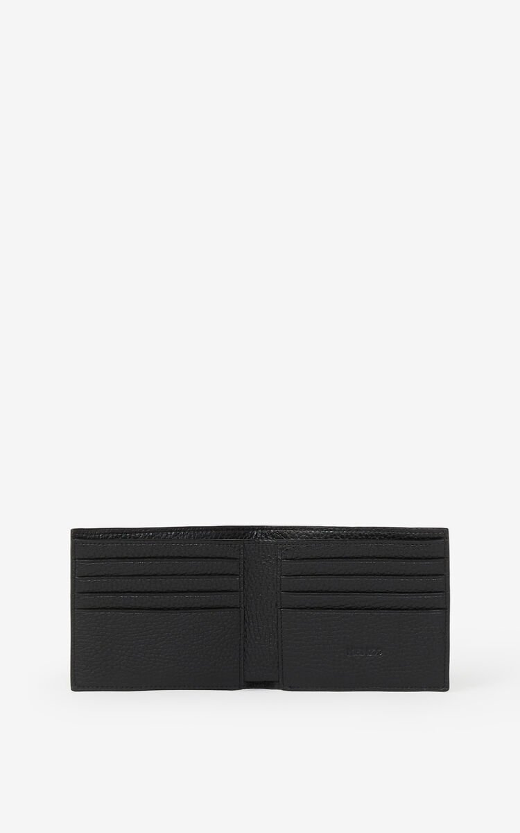 BLACK KENZO Imprint small grained leather wallet for unisex