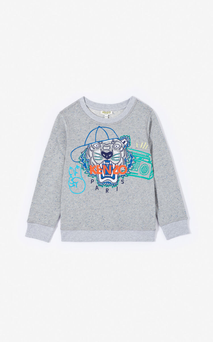 MISTY GREY 'Wax' Tiger sweatshirt for women KENZO
