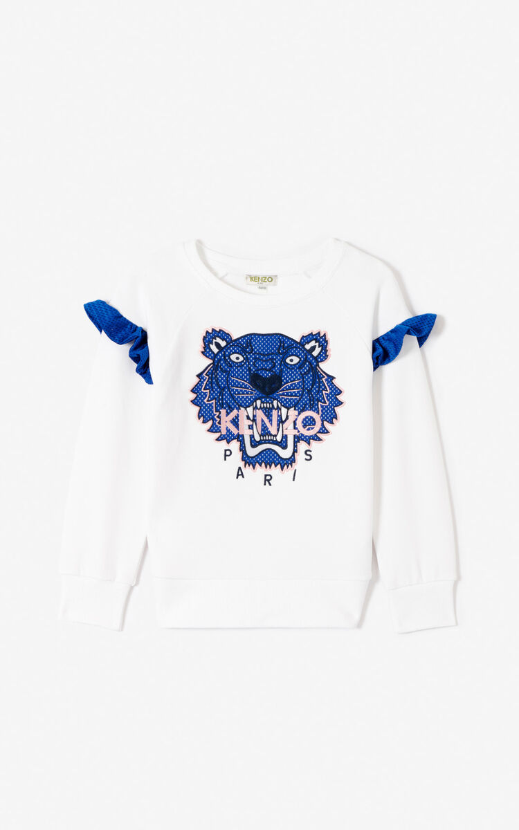 WHITE 'Racing' Tiger sweatshirt for women KENZO
