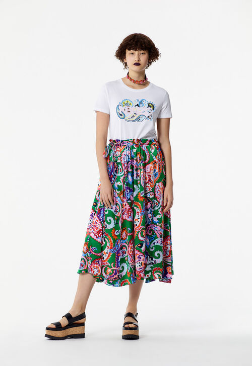 WHITE KENZO Paris paisley print t-shirt for women