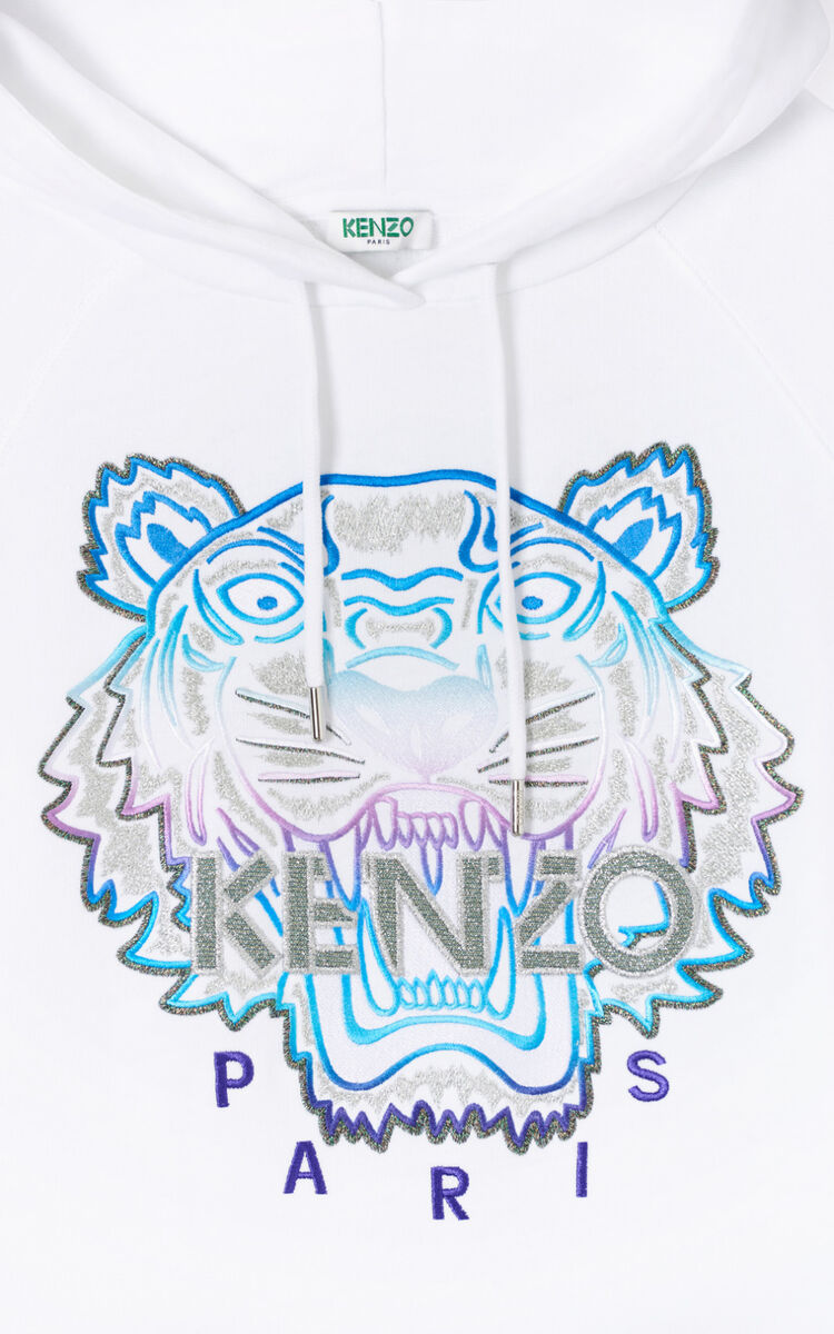 WHITE Hooded Tiger sweatshirt for women KENZO