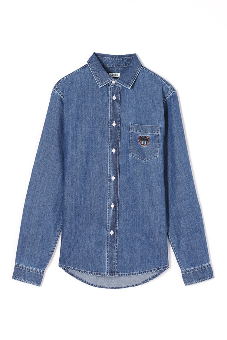 NAVY BLUE Denim Tiger shirt for men KENZO