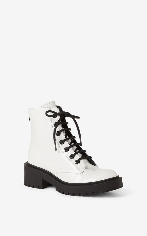 WHITE Pike lace-up leather ankle boots for unisex KENZO