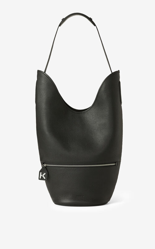 BLACK Large KENZO Onda leather bucket bag for men