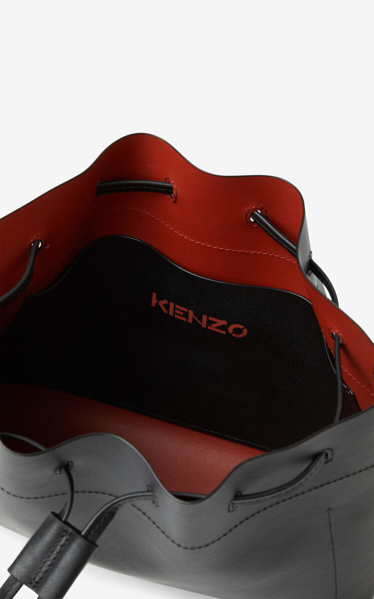 BLACK KENZO Cadet leather bucket bag for unisex