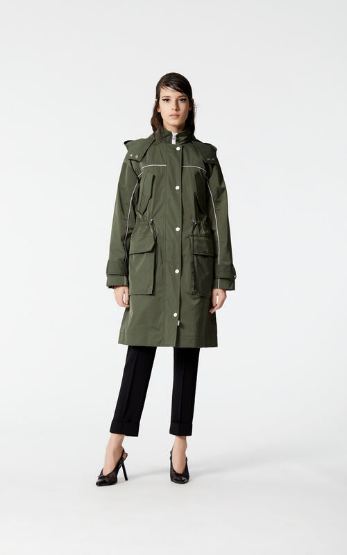 DARK KHAKI Mid-length lightweight parka for women KENZO