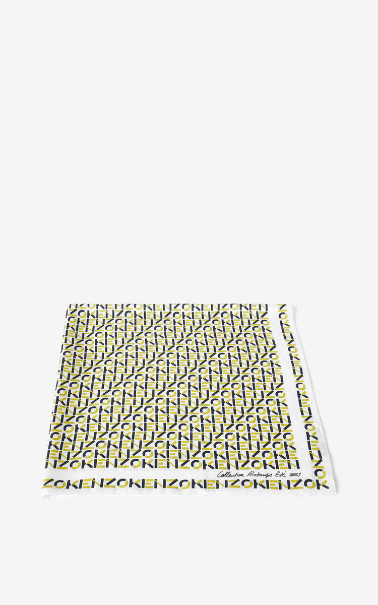 LEMON KENZO monogrammed silk square for unisex