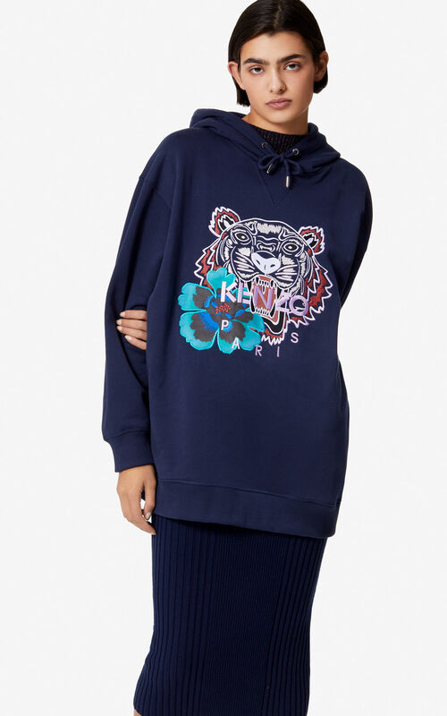 INK 'Indonesian Flower' Tiger hoodie for women KENZO