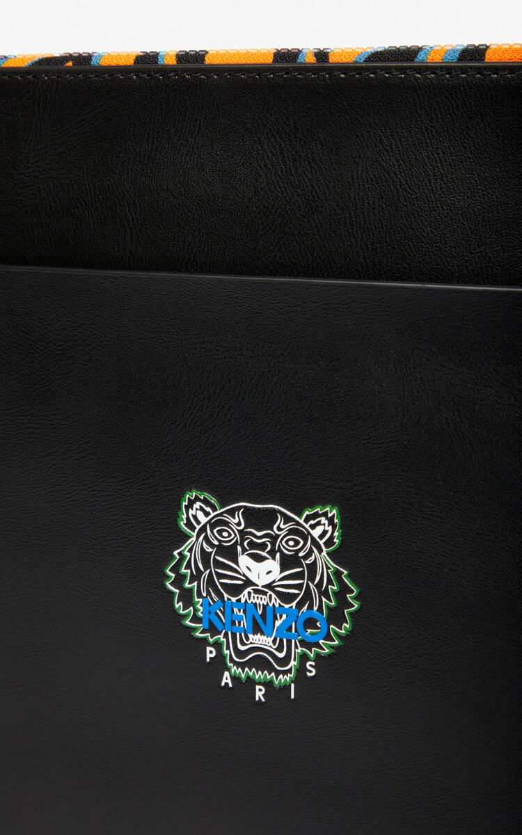 BLACK 'Tiny Tiger' A4 leather clutch for men KENZO