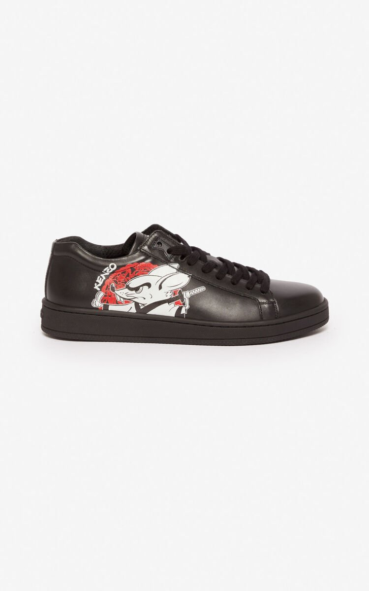 BLACK 'Kung Fu Rat' Tennix trainers for unisex KENZO