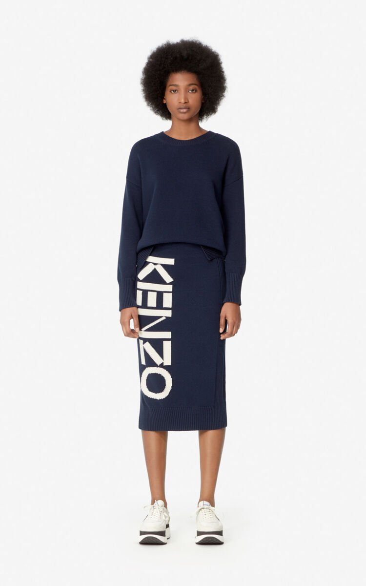 MIDNIGHT BLUE KENZO knit skirt for women