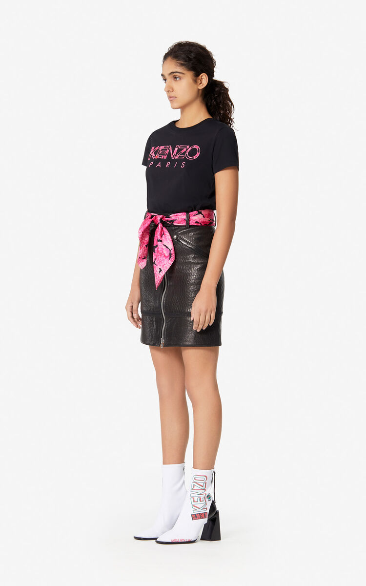 BLACK 'Peonies' KENZO Paris T-shirt for women