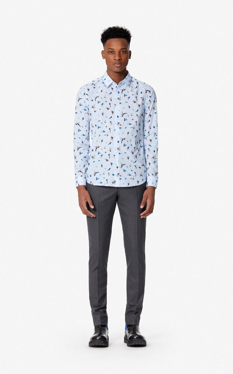 SKY BLUE 'Painted Tiger' slim-fit shirt for men KENZO