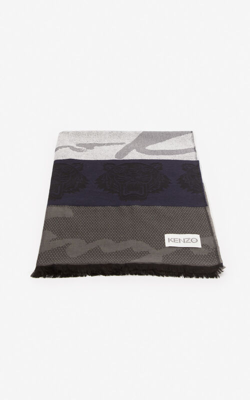 MIDNIGHT BLUE Multi icon scarf for unisex KENZO